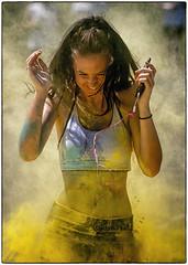 Under fire? (Andy J Newman) Tags: color street d500 lady colour charity girl rainbow candid run bristol hospice rainbowrun nikon smile clifton hair england unitedkingdom gb