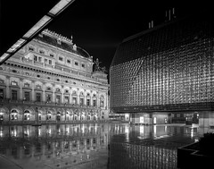 Prague, Czech Republic. (wojszyca) Tags: intrepid camera 4x5 largeformat fujinon sw 90mm f8 ilford hp5 longexposure night epson v800 hc110 163 city urban wet reflection architecture prague