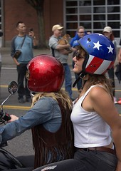 Woman Riders (swong95765) Tags: ride cycle bikers double motorbike motorcycle helmet parade