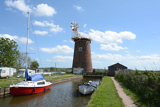 Horsey Windpump Norfolk. 1 year on from the previous photo on my photstream and the Cap and Fantail have been installed with work continuing through 2017 getting ready for the new sails.