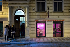May 14, 2017.jpg (pavelkhurlapov) Tags: doorway streetphotography architecture pink lights shop hotel smoking friends girls night