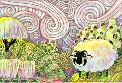 Sunrise in Swirls and Wool color-Pigma Micron in Quo Vadis Habana (molossus, who says Life Imitates Doodles) Tags: zentangle zentangleinspiredart idareyouchallenge fantasylandscapes use shaggyplant wholeetrees