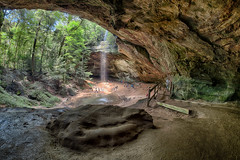 _DSC2027 Ash Cave, Hocking Hills Ohio_HDR (Explored) (Charles Bonham) Tags: ashcave hockinghills ohio cave outdoor sandstone hdr waterfall walking hiking trees climbing people vegitation stairs sonya7rll rokinon12mmf28fisheye charlesbonhamphotography hss statepark loganohio