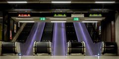 Life In The Fast Lane (Jens Haggren) Tags: escalator lights speed signs underground metro subway longexposure stockholm sweden city
