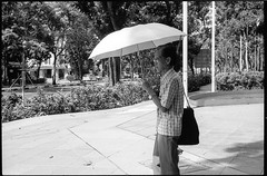 Protection (waex99) Tags: 06 100iso 2016 50mm 50mmf2 epson kodak leica singapore tmax film tmx v500 summicron brolly parapluie umbrella protection street candid protraitman older old homme vieux agé