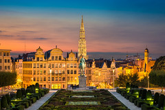 Brussels Sunset (Michael Abid) Tags: brussels brussel bruxelles belgium skyline night panorama city panoramic cityhall townhall landmark sunset view cityscape aerial building architecture famous historic