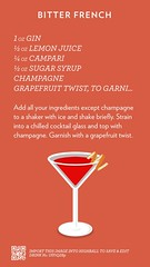 Bitter French, check out more cocktails at http://ift.tt/2dslAbC (cocktailflashcards) Tags: highball cocktail gin lemon juice campari sugar syrup champagne grapefruit twist
