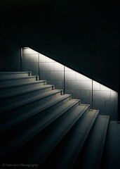 Night walk (Paterdimakis) Tags: night walk stair light white line shape geometry urban city cityscape fuji street modern shadow black grey steps tile