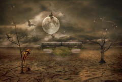 Commuting (brian_stoddart) Tags: surreal moon lunar figure wasteland trees crows sky clouds light weird strange trains railways transport travel cracked earth