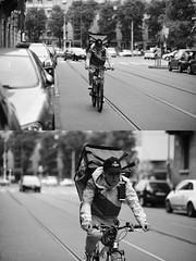 [La Mia Città][Pedala] per JustEat (Urca) Tags: milano italia 2017 bicicletta pedalare ciclista ritrattostradale portrait dittico bike bycicle nikondigitale scéta biancoenero blackandwhite bn bw 10228