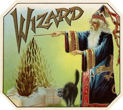Wizard Cigar Box Label (Alan Mays) Tags: ephemera labels cigarboxlabels cigarlabels cigars cigarboxes advertising advertisements ads paper printed wizard wizards magicians magic men clothes clothing robes dragons hats pointedhats beards glasses eyeglasses spectacles wands magicwands magicalwands spells castingspells cats blackcats animals tails tobacco bales green yellow red blue gold borders corners illustrations 1920s antique old vintage typefaces type typography fonts