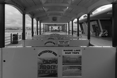 Looking down the train (paul_taberner_photography) Tags: southportpier blackwhite blackandwhite