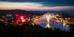 Let the games begin (mjlacey) Tags: budapest danube fina world championships 2017 light show opening ceremony fireworks flare buda castle pest quay chain bridge