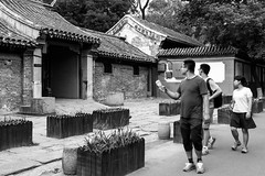 Impressive (Go-tea 郭天) Tags: pékin beijingshi chine cn beijing hutong gulou old traditional tradition history historical historic building construction house home tourist group 3 friends together visit visiting travel traveling travelers young men woman walk walking movement surprised impressed impressive discovering discover glasses candid hot warm day street urban city outside outdoor people bw bnw black white blackwhite blackandwhite monochrome naturallight natural light asia asian china chinese canon eos 100d 24mm prime