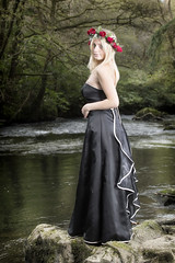 Lady in black (BarryKelly) Tags: black satin dress red head river rock tree bush blonde silk refelection side