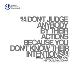 Quote of the Day: Don't Judge Anybody... (Mehdi/Messiah Foundation International) Tags: action actions deepthoughts intention judge judgemental lifelessons lifequotes quote quoteoftheday quotes realtalk thoughtoftheday younusalgohar