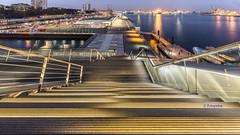 Blick vom Dockland (petra.foto busy busy busy) Tags: hafen hafenblick aussicht schiffe kräne spiegelung reflexion hamburg germany fotopetra canon 5dmarkiii langzeitbelichtung architektur
