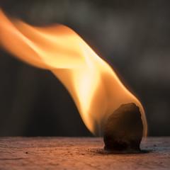 Flaming Cotton Ball (Eduardo_il_Magnifico) Tags: fire flame burning firestarter cotton bokeh macro small candle nikond750 tamron90mmmacrovcusm