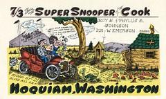 The Viking: Super Snooper & Cook - Hoquiam, Washington (73sand88s by Cardboard America) Tags: qsl cb cbradio vintage qslcard theviking washington car turtle outhouse