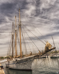 Tall and proud (BAN - photography) Tags: tallship masts harbour sails rigging hull marina barcelona d810 clouds water sailboats