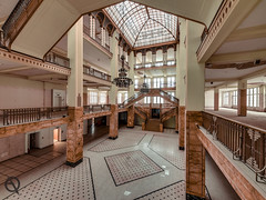 Grand Budapest Hotel (_NeQo_) Tags: abandoned artnouveau architecture decayed désaffecter derelict exploring forgotten filmstudio golden heritage history jugendstil skylight light neglected old satellite vintage exceptional olympus