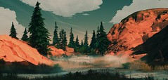 """""""Glade"""" (L1netty) Tags: camposanto river nature landscape sky trees scenery firewatch screenshot games panorama gaming reshade pc summer hills fog outdoor videogame 8k color pano srwe"""