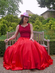 Smiling lady (Paula Satijn) Tags: lady girl dress gown ballgown skirt satin lace red feminine chic outside parl bench silk shiny hot hat glamorous elegance class grace style
