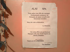 Massage in Montreal: Alai Spa (Walker Larry) Tags: alai spa massage therapeutique sante beaute salon table parlor erotic massotherapy montreal bodyrubs bodyrub happy ending masseuses massotherapie masseuse eroticmassage body rub tug rugs parlour close door saint henri professional only sexual request forbidden notice prohibition interdiction lipstick mark massages professionnels demande nature sexuelle direction management note typos warning asian