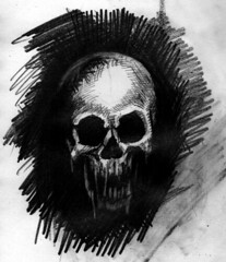 charnel apparition 3 sketch (ashley russell 676) Tags: charnel apparition ghost ghoul demonic entity possession illustration drawing pencil art macabre horror dark death evil spirit skull bones jaw black white monochromatic occult paranormal supernatural sketchbook poltergeist
