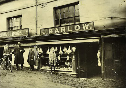Arthur Worsley, tailor, 13 High Street & Joseph Barlow, butcher, 15 High Street (during reconstruction) - 1922
