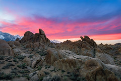 The Bloom of a Sunset (jthight) Tags: ca sierra usa landscape sunset sierranevada alabamahills mountains landform lonepine boulders rocks nikond810 california march sky snow unitedstates afzoom2470mmf28g lightroom clouds us