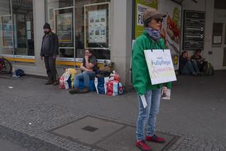 Pedicures for the homeless. Karl-Marx-Straße, April 2017.