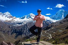 Amanda took time to enjoy some yoga at 5000 meters with Mt. Huascarán in the background.