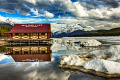 The Boat House (Ross Forsyth - tigerfastimagery) Tags: 2017 alberta britishcolumbia landscape mountains scenery waterfalls wildlife nature malignelake boathouse malignelakeboathouse ice water lake maligne reflection reflections mirror jasper jaspernationalpark canada