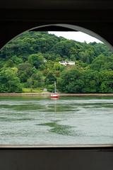 River Dart (Georgie Kyriacou) Tags: dart dartmouth greenway frame trees river boat redboat