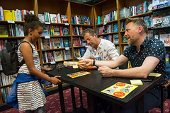 Waterstones book signing with Julian Clary and David Roberts. Aylesbury, UK. (stevebell) Tags: waterstones aylesbury bookstore books booksigning comedian novelist author julianclary thebolds children'sbook children illustrator davidroberts