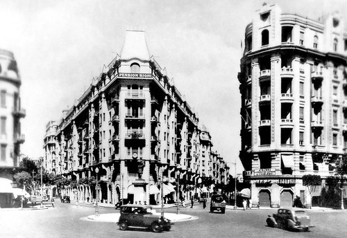 "Jun 1941 - Baehler Building (centre, with ""Pension Right"" commercial sign) in Soliman Pasha Square, Cairo, Egypt - real photo post card - circa 1930s"