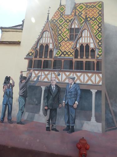Place Docteur Jorrot, Beaune - mural by Patrick Bidaux