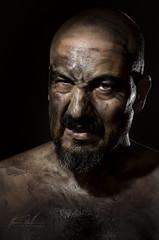 Barbacoa de verano (melderomero.com) Tags: barbacoa bbq man male studio portrait selfportrait dirt sucio cara face carbón charcoal strobist rimlight recorte twolightssetup grid selens