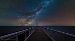 Sneaking Over The Horizon (Photography By Tara Gowen) Tags: night milkyway jetty stars horizon qld wellingtonpoint longexposure taragowen photographybytaragowen australia blue water smooth nikon tokina1116mm nikonaustralia
