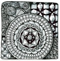 Ancient Shield (molossus, who says Life Imitates Doodles) Tags: zentangle zentangleinspiredart thegreatzentanglebook review