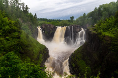 Grand Portage High Falls (Paul Domsten) Tags: minnesota canada unitedstates ontario pentax waterfall grandportagestatepark highfalls nature trees water pigeonriver river longexposure clouds