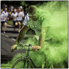 Cycling clearly is the green option:) (Andy J Newman) Tags: man bike bicycle green bristol rainbowrun candid streetphotography street nikon d500