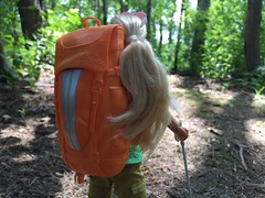Heading toward the Lake (Foxy Belle) Tags: doll barbie made move camping fun july 2017 backpack hike woods outside hiking summer forest