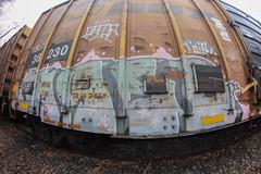 ? (NJphotograffer) Tags: graffiti graff trackside track railroad rail art freight train bench benching boxcar box car