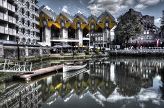 Kubuswoningen (Rik Tiggelhoven Travel Photography) Tags: kubuswoningen rotterdam blaak oude haven architecture building harbour harbor boat clouds reflection reflectie water hdr ndfilter neutral density cityscape city netherlands nederland holland europe europa rik tiggelhoven travel photography