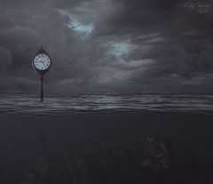 Desde el fondo // From the bottom (Kathy Chareun) Tags: surreal surrealismo surrealism surrealistic surrealista unreal irreal ps photoshop sea mar ocean oceano sky cielo clouds nubes clock reloj water agua autorretrato autoretrato selfportrait olas waves light luz dark darkness oscuridad 365 challenge reto woman mujer butterfly hope