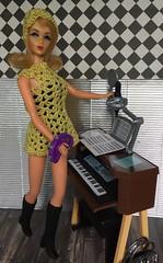 The audition (Foxy Belle) Tags: mod barbie vintage marlo flip blonde crochet dress music diorama 16 scale audition key board girls activity yellow vlack hat handknit doll mattel 1960s minidress piano recording studio tnt twist turn