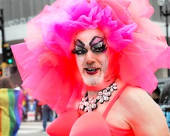 PRETTY IN PINK . . ._ (panache2620) Tags: pride minneapolis 2017 drag pink gay lgbtq costume fun funny eos portrait mom sister cousin grandmother mother demure shy timid fearful avon deerhunter marine girlfriend mary sissy maxim vogue fashion
