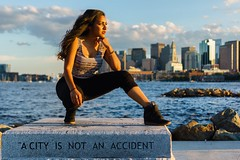Binita at Lo Presti Park ((Jessica)) Tags: loprestipark eastboston boston portrait skyline goldenhour city is an accident massachusetts newengland sony